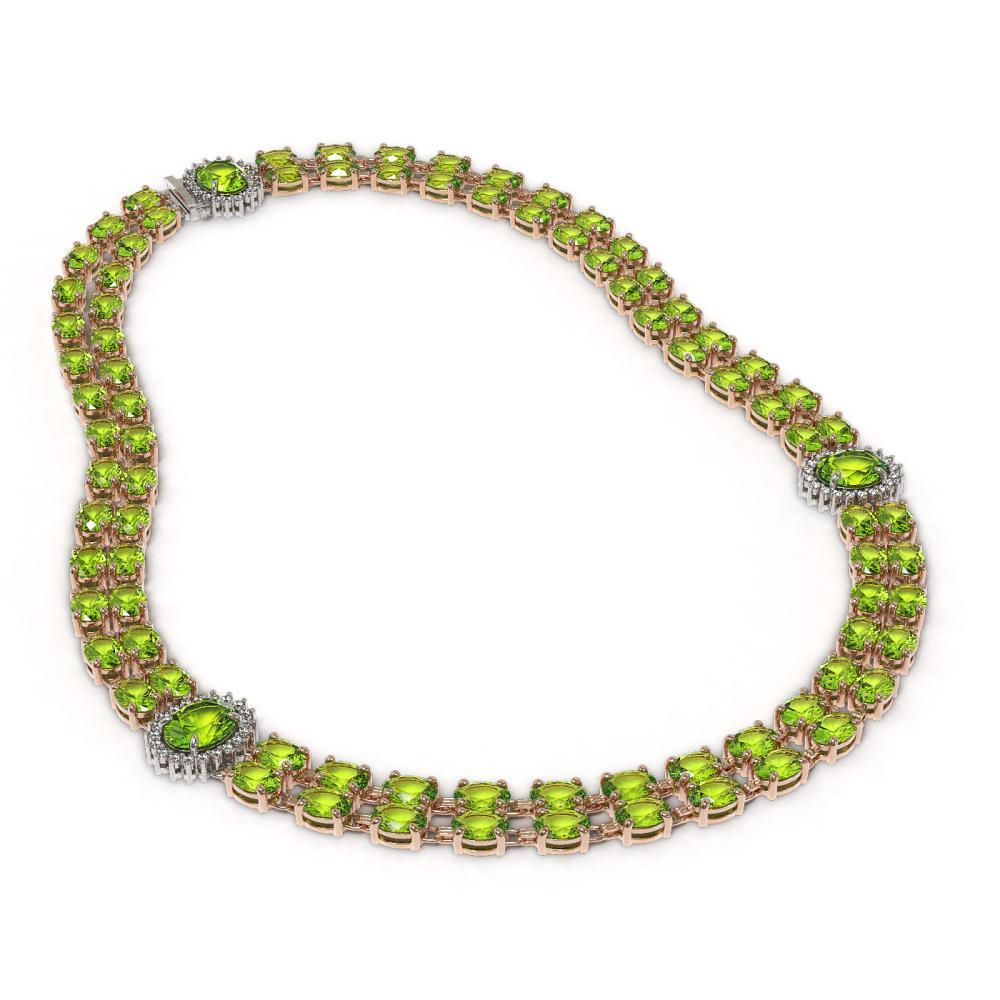 Lot 6038: 58.69 ctw Peridot & Diamond Necklace 14K Rose Gold - REF-564Y4X - SKU:44367