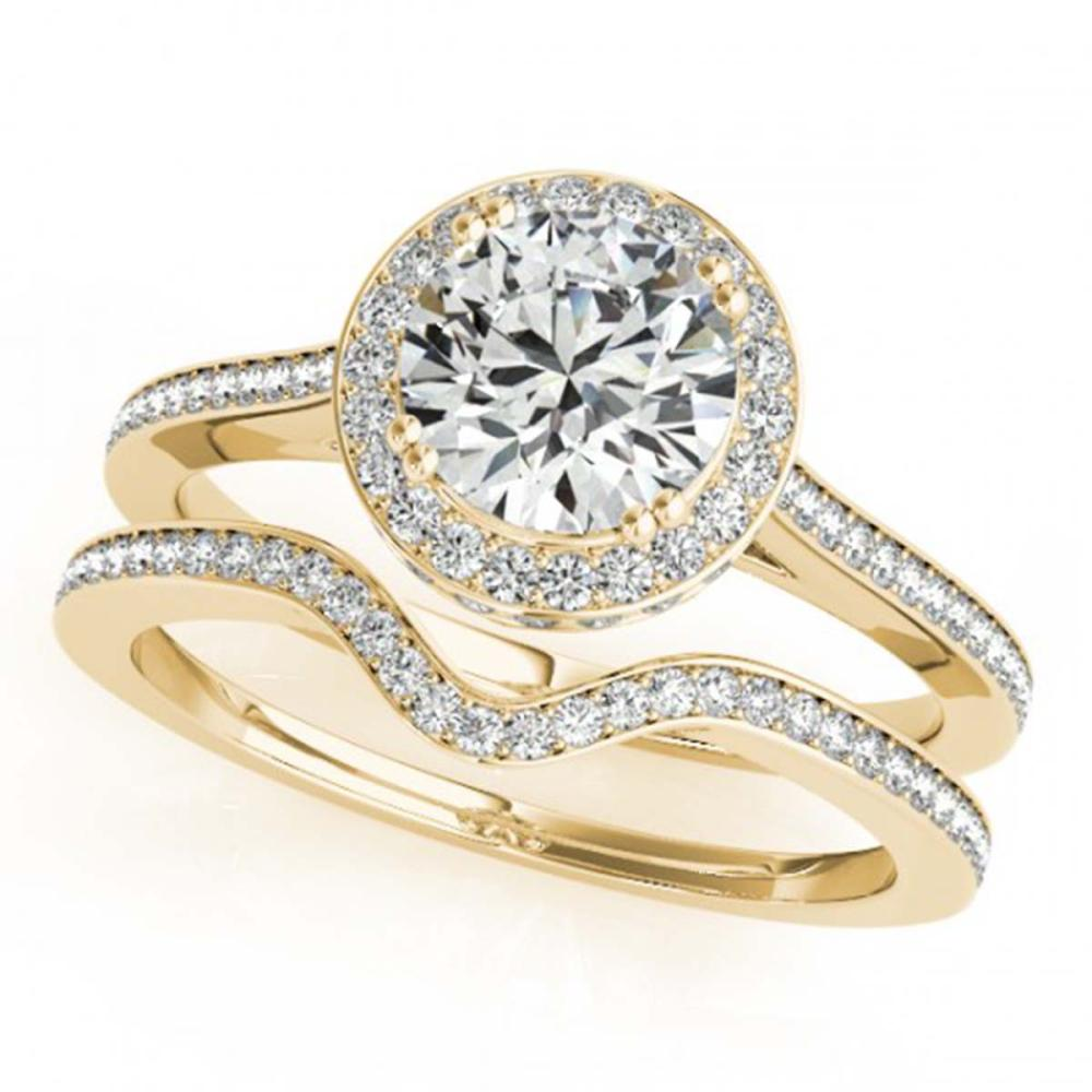 Lot 6215: 2.31 ctw VS/SI Diamond 2pc Wedding Set Halo 14K Yellow Gold - REF-539H7M - SKU:30818