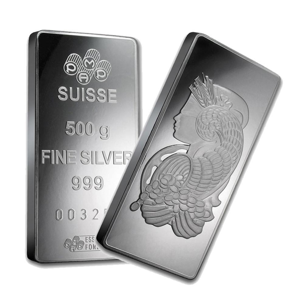 Lot 6201: One piece 500 gram 0.999 Fine Silver Bar PAMP Suisse Fortuna-35835