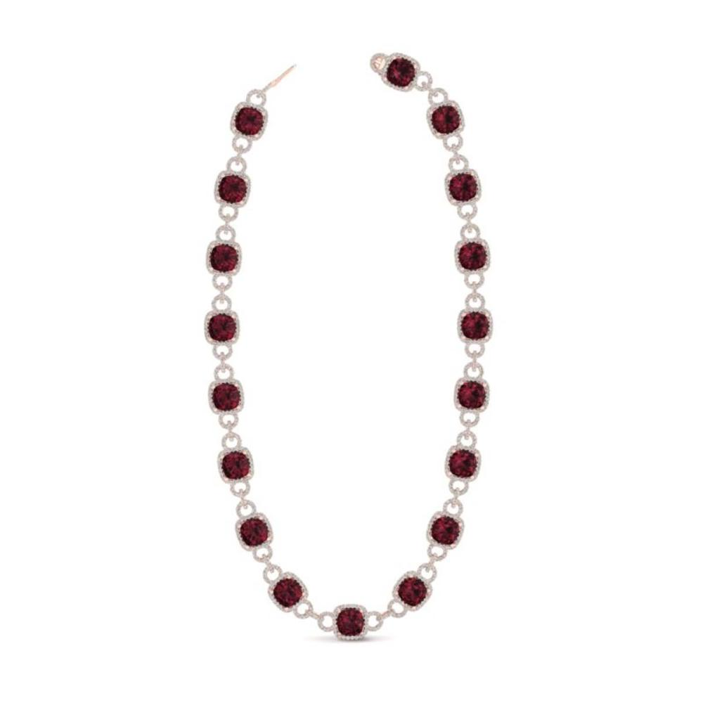 Lot 6064: 66 ctw Garnet & VS/SI Diamond Necklace 14K Rose Gold - REF-794K5W - SKU:23044