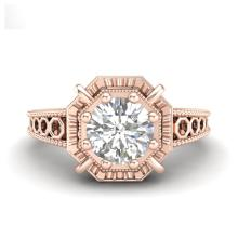 Lot 6065: 1 ctw VS/SI Diamond Solitaire Art Deco Ring 18K Rose Gold - REF-318K3W - SKU:36873