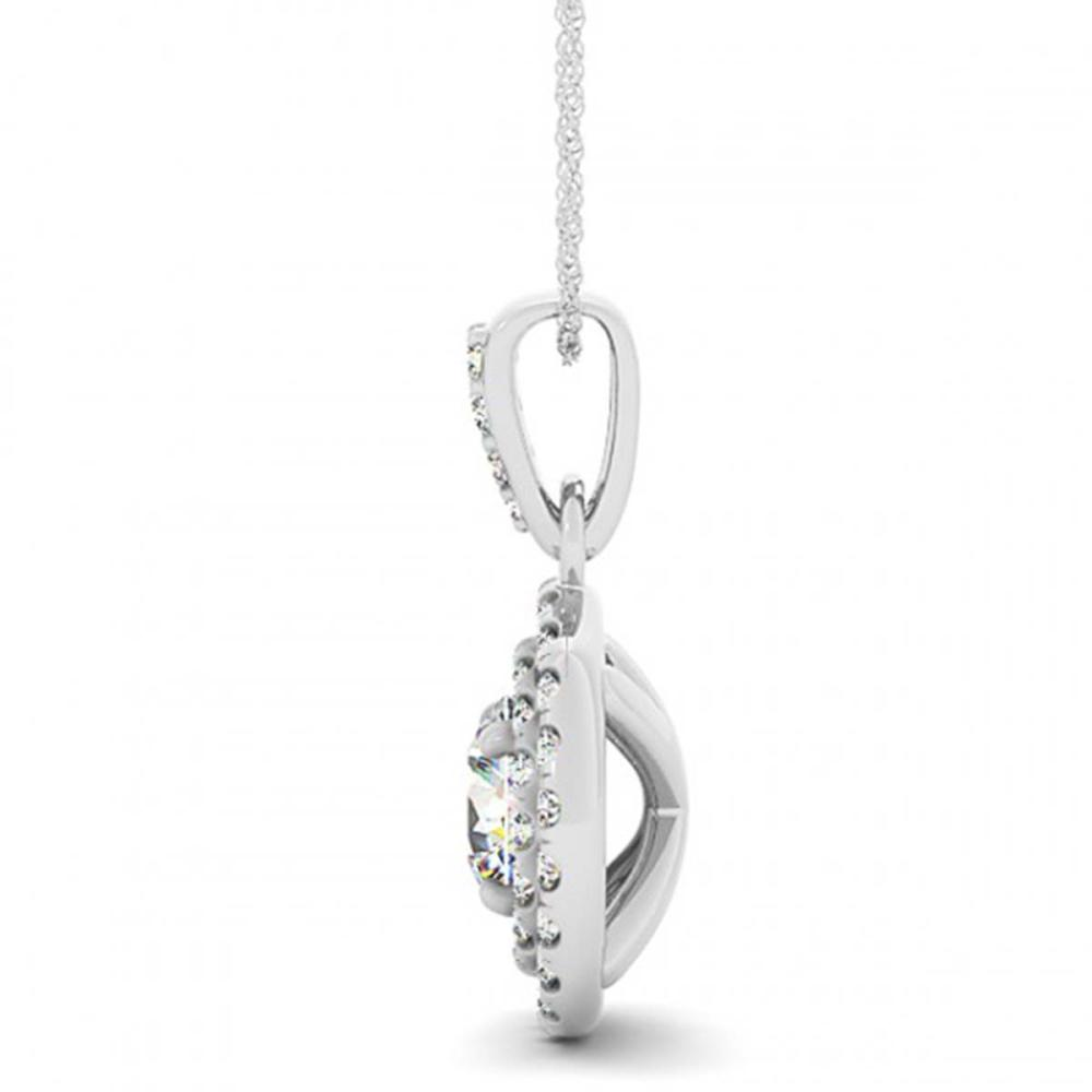 Lot 6227: 0.60 ctw SI Diamond Halo Necklace 14K White Gold - REF-61N3A - SKU:30165