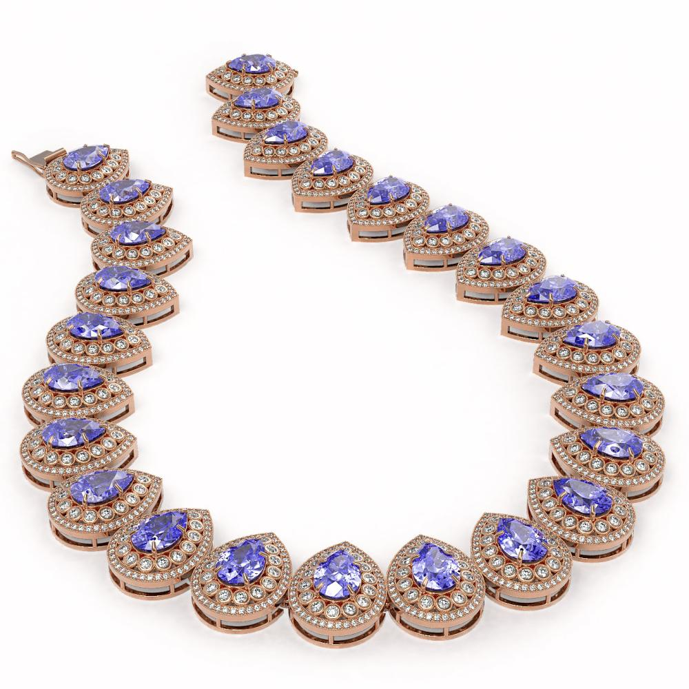 Lot 6083: 108.42 ctw Tanzanite & Diamond Necklace 14K Rose Gold - REF-4664K5W - SKU:43236