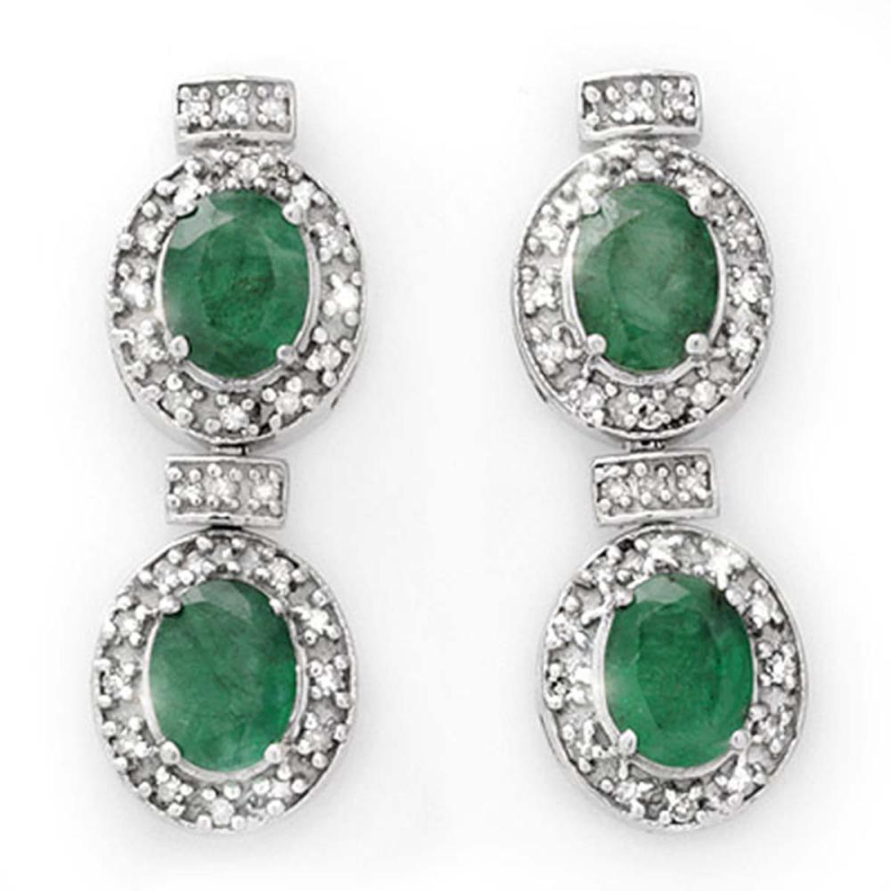 Lot 6234: 5.75 ctw Emerald & Diamond Earrings 14K White Gold - REF-136W4H - SKU:13404