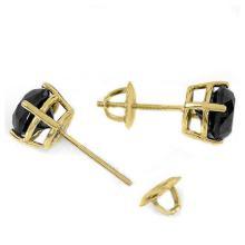 Lot 6106: 2.0 ctw VS Black Diamond Solitaire Stud Earrings 14K Yellow Gold - REF-48W2H - SKU:14123