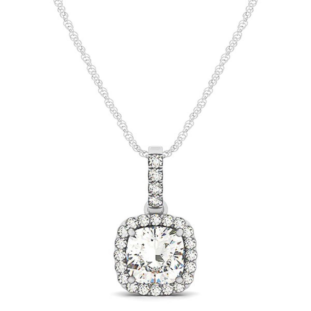 Lot 6119: 1.50 ctw VS/SI Cushion Cut Diamond Halo Necklace 14K White Gold - REF-448N9A - SKU:29969