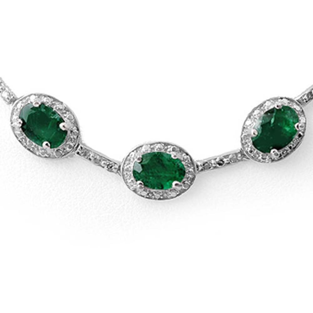 Lot 6120: 21.0 ctw Emerald & Diamond Necklace 14K White Gold - REF-252F2N - SKU:10418