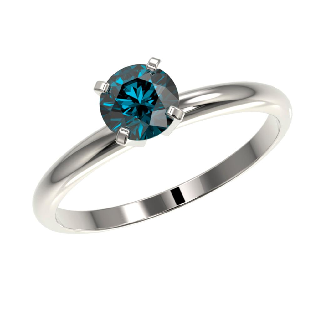 Lot 6094: 0.75 ctw Intense Blue Diamond Ring 10K White Gold - REF-97W5H - SKU:32880
