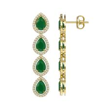 Lot 6096: 10.2 ctw Emerald & Diamond Halo Earrings 10K Yellow Gold - REF-155X5R - SKU:41140