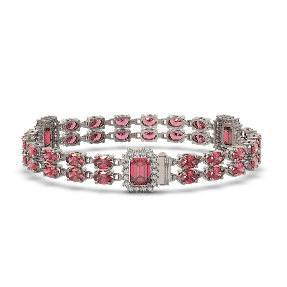 Lot 6104: 17.79 ctw Tourmaline & Diamond Bracelet 14K White Gold - REF-305F3N - SKU:45041