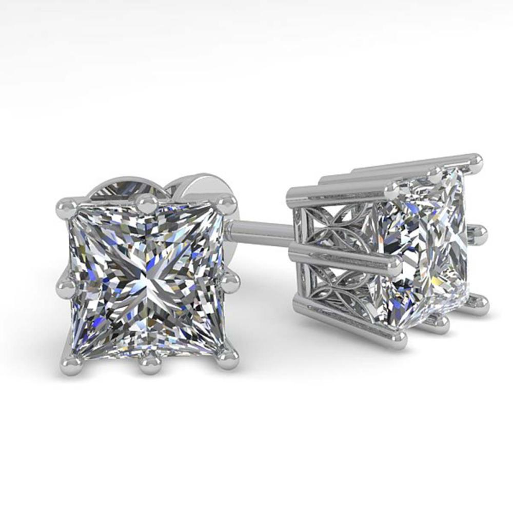 Lot 6264: 1.0 ctw VS/SI Princess Diamond Stud Earrings 18K White Gold - REF-147W2H - SKU:35829