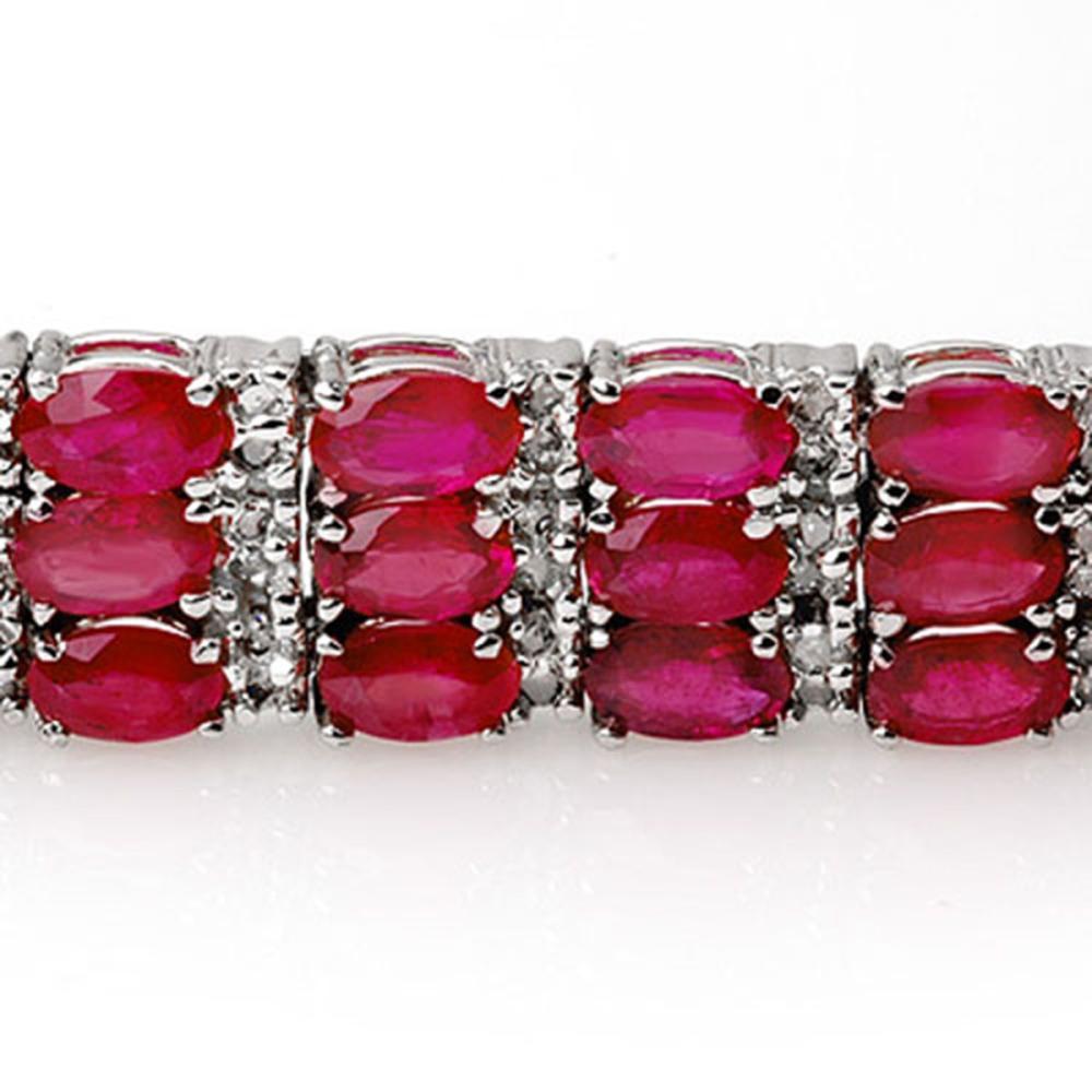 Lot 6125: 30.26 ctw Ruby & Diamond Bracelet 14K White Gold - REF-391Y3X - SKU:11546