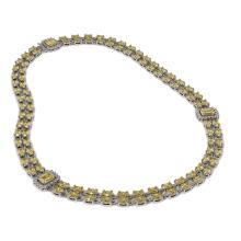 Lot 6128: 30.62 ctw Citrine & Diamond Necklace 14K White Gold - REF-377W8H - SKU:45008