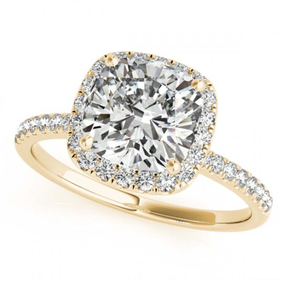 Lot 6140: 1.51 ctw VS/SI Cushion Diamond 2pc Set Halo 14K Yellow Gold - REF-306R8K - SKU:31405