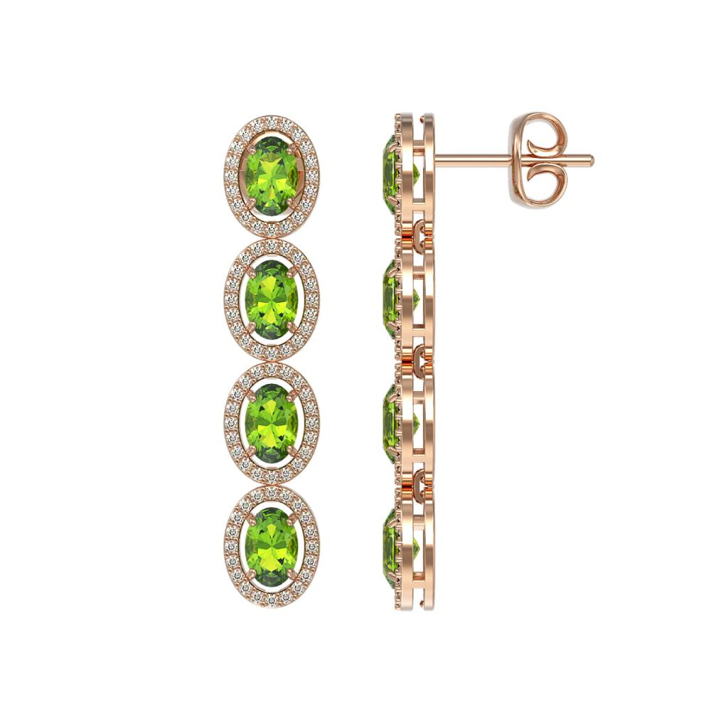 Lot 6141: 5.88 ctw Peridot & Diamond Halo Earrings 10K Rose Gold - REF-125X5R - SKU:40530