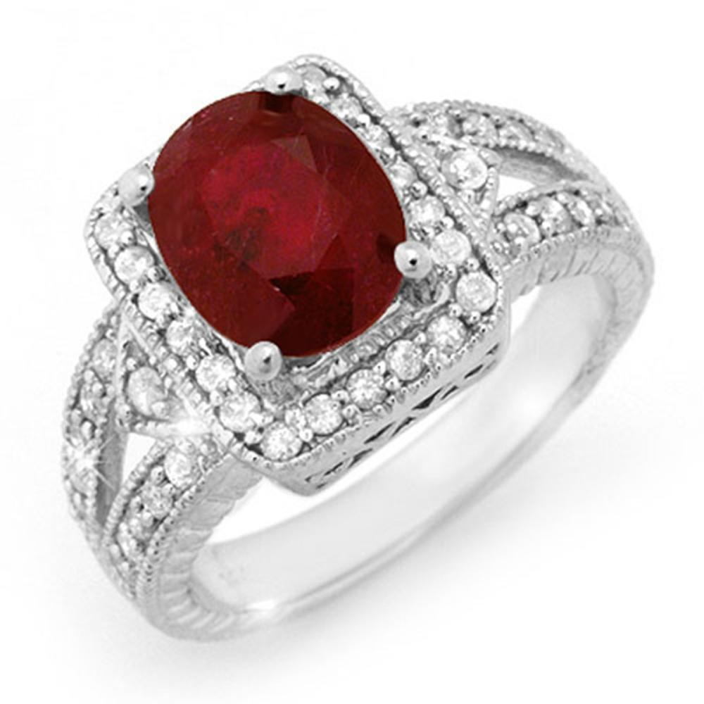 Lot 6276: 3.20 ctw Ruby & Diamond Ring 14K White Gold - REF-101X8R - SKU:14257