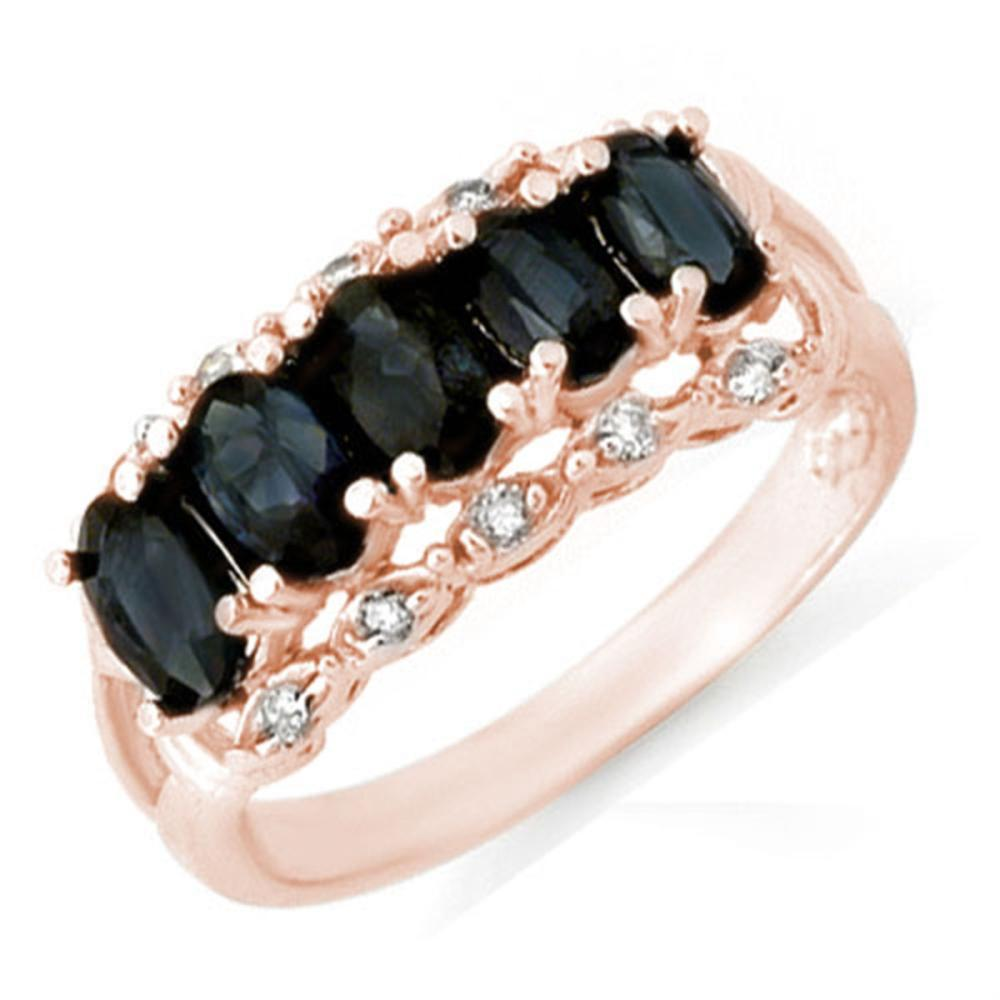 Lot 6286: 2.0 ctw Blue Sapphire & Diamond Ring 14K Rose Gold - REF-37X8R - SKU:12422