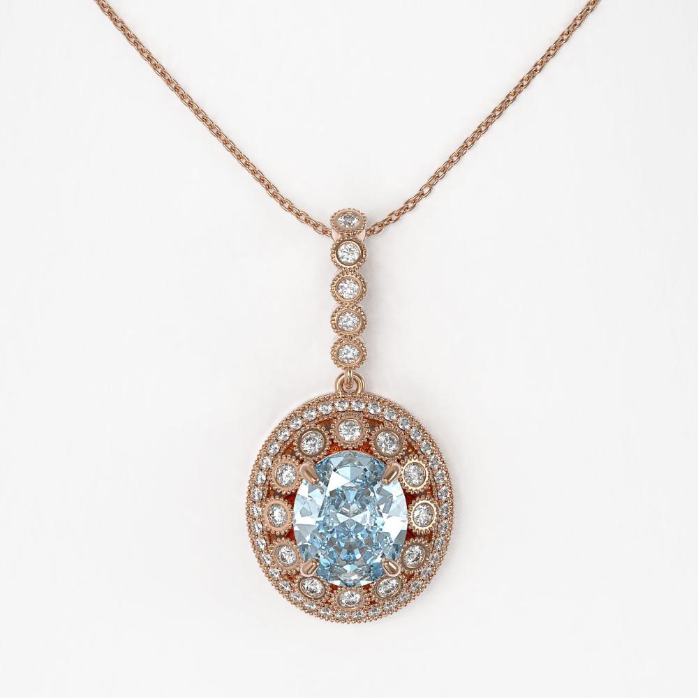 Lot 6166: 6.81 ctw Aquamarine & Diamond Necklace 14K Rose Gold - REF-228N2A - SKU:43830