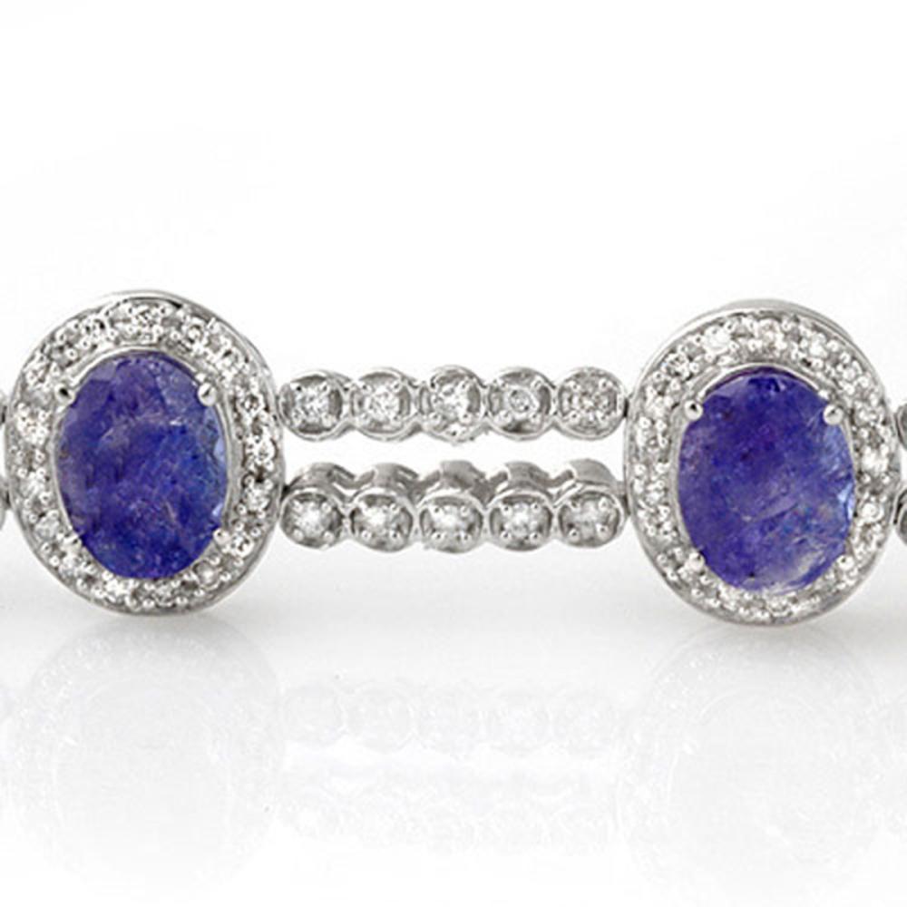 Lot 6164: 21.25 ctw Tanzanite & Diamond Bracelet 14K White Gold - REF-496W7H - SKU:11745