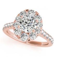 Lot 6184: 2.22 ctw VS/SI Diamond 2pc Wedding Set Halo 14K Rose Gold - REF-200X9R - SKU:31170