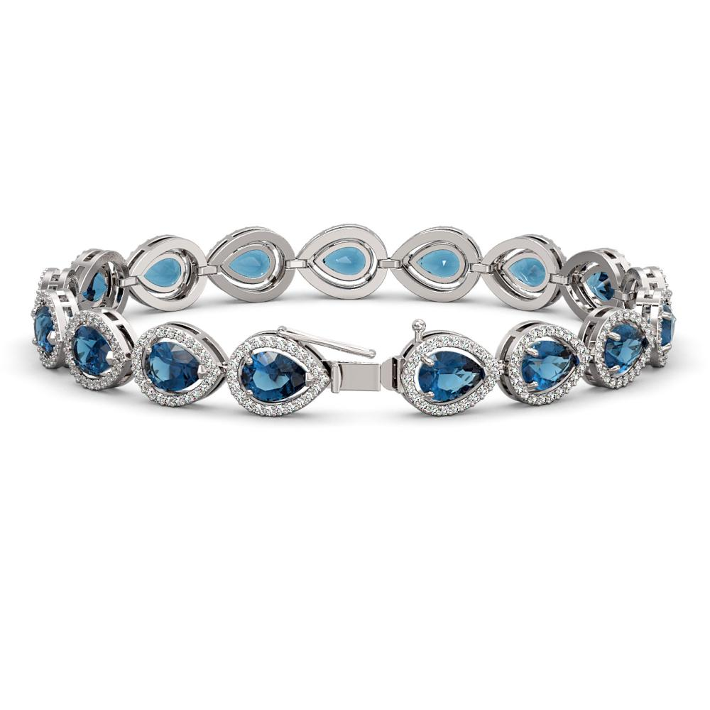 Lot 6167: 16.59 ctw London Topaz & Diamond Halo Bracelet 10K White Gold - REF-281K6W - SKU:41126