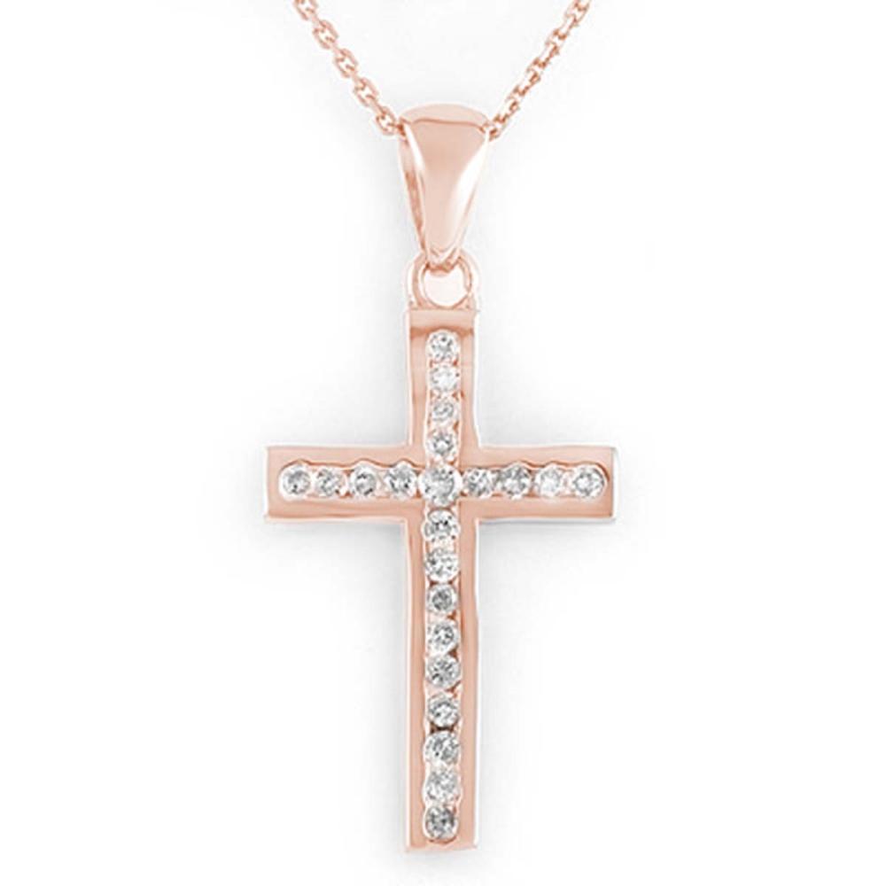 Lot 6308: 0.50 ctw VS/SI Diamond Necklace 14K Rose Gold - REF-44F9N - SKU:11114
