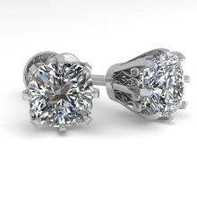 Lot 6324: 1.0 ctw VS/SI Cushion Cut Diamond Stud Earrings 18K White Gold - REF-147Y2X - SKU:35676