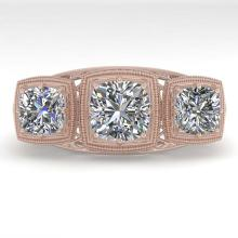 Lot 6325: 2 ctw Past Present Future VS/SI Cushion Diamond Ring Deco 18K Rose Gold - REF-481K6W - SKU:36071