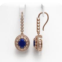 Lot 6206: 9.25 ctw Sapphire & Diamond Earrings 14K Rose Gold - REF-243X5R - SKU:43608