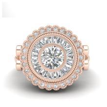 Lot 6217: 2.03 ctw VS/SI Diamond Solitaire Art Deco Ring 18K Rose Gold - REF-327R3K - SKU:37080