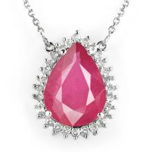 Lot 6335: 14.15 ctw Ruby & Diamond Necklace 18K White Gold - REF-168W2H - SKU:14286