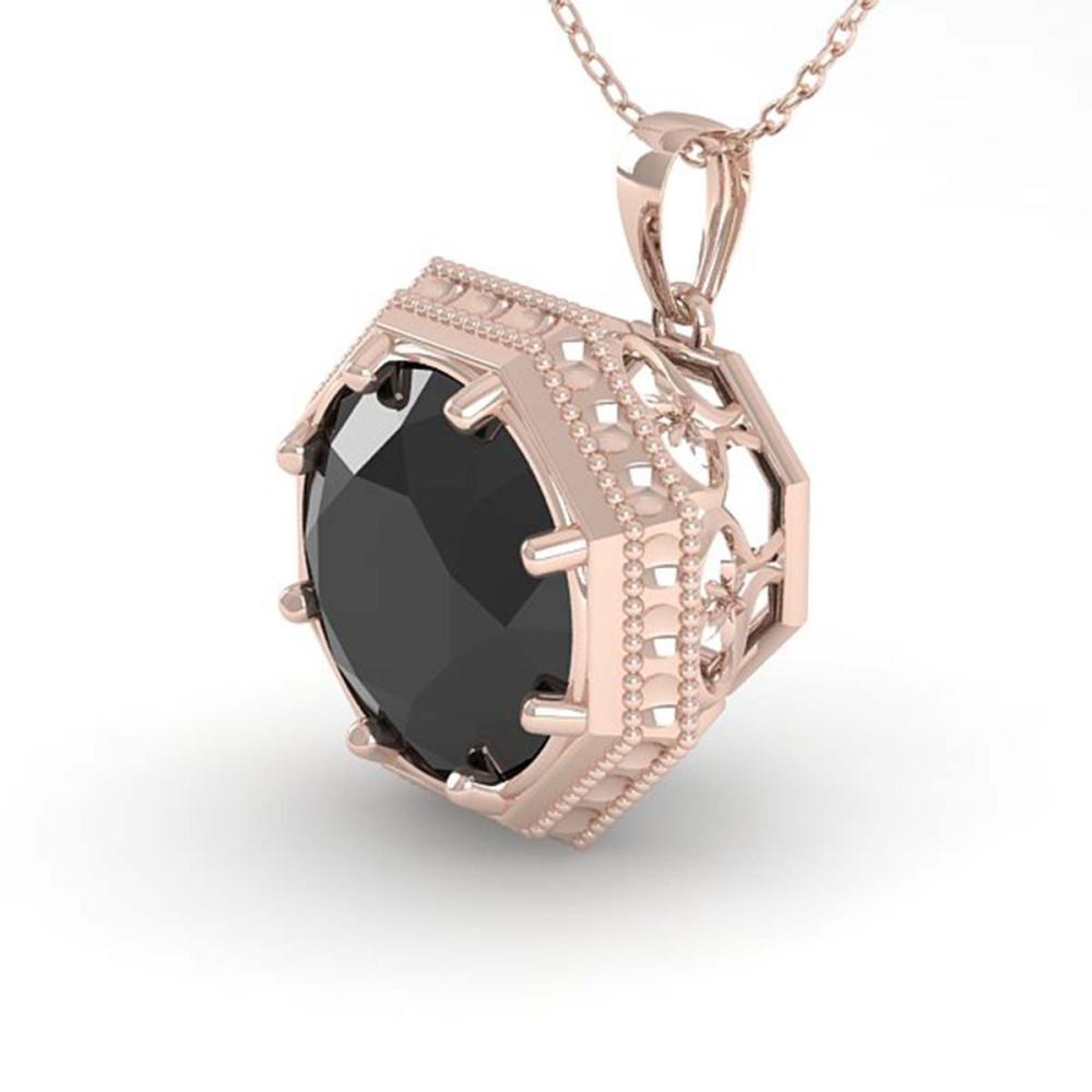 Lot 6332: 1 ctw Black Diamond Solitaire Necklace 18K Rose Gold - REF-50K9W - SKU:35996