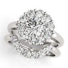 Lot 6342: 2.59 ctw VS/SI Diamond 2pc Wedding Set Halo 14K White Gold - REF-339Y8X - SKU:31274