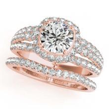 Lot 6347: 1.94 ctw VS/SI Diamond 2pc Wedding Set Halo 14K Rose Gold - REF-197K7W - SKU:31140