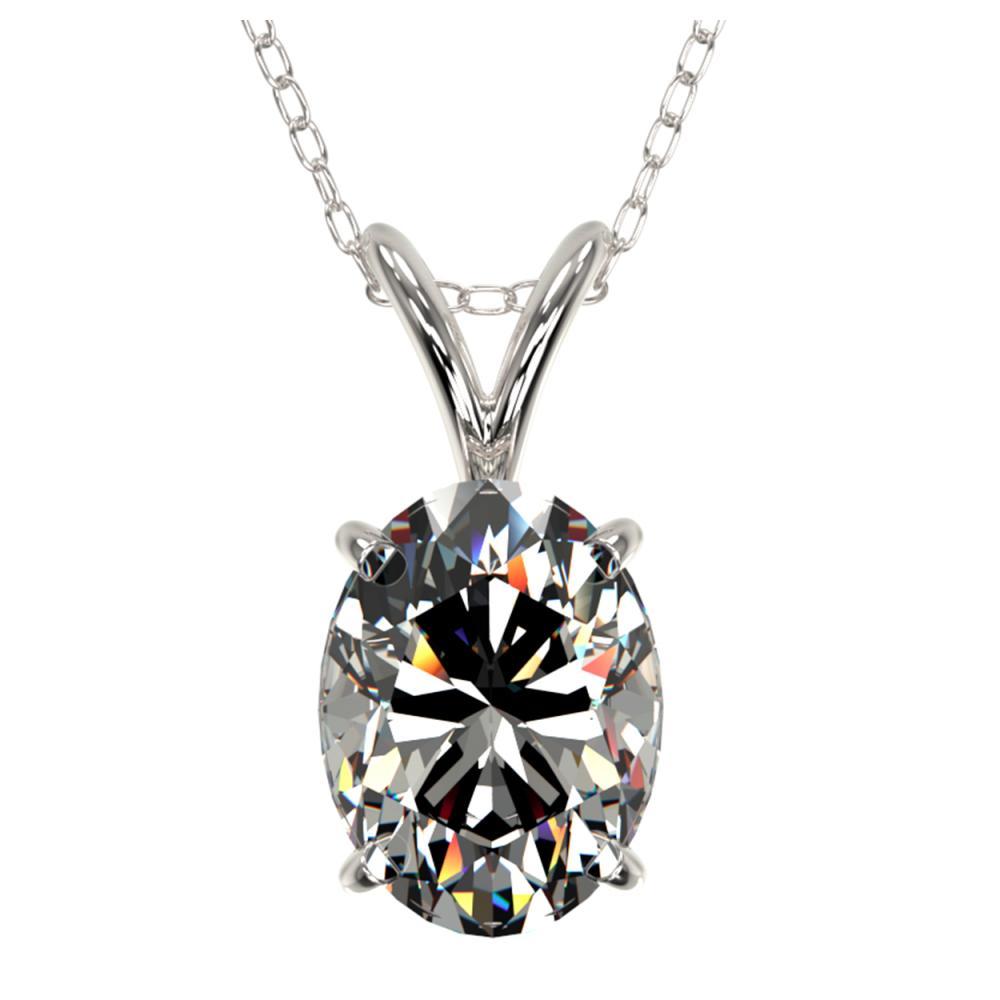 Lot 6329: 1.25 ctw VS/SI Oval Diamond Necklace 10K White Gold - REF-397K5W - SKU:33211