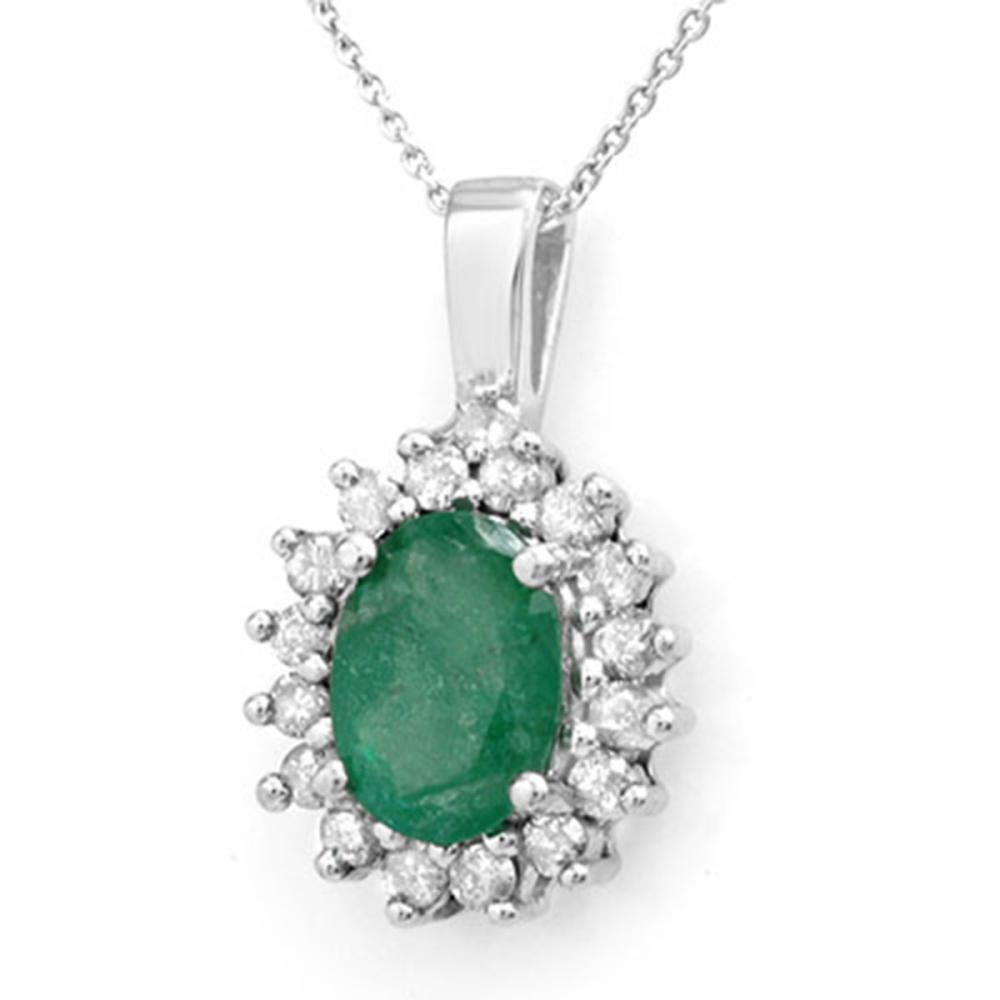 Lot 6334: 3.48 ctw Emerald & Diamond Pendant 14K White Gold - REF-70R9K - SKU:14015