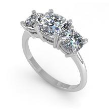 Lot 6220: 2.0 ctw VS/SI Cushion Diamond 3 Stone Ring 18K White Gold - REF-447F2N - SKU:32475