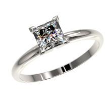 Lot 6219: 1 ctw VS/SI Princess Diamond Ring 10K White Gold - REF-297A2V - SKU:32897