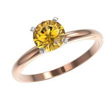 Lot 6233: 1.01 ctw Intense Yellow Diamond Ring 10K Rose Gold - REF-187V5Y - SKU:36417