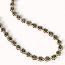 Lot 6226: 35.13 ctw Tourmaline & Diamond Halo Necklace 10K Rose Gold - REF-775Y5X - SKU:41064