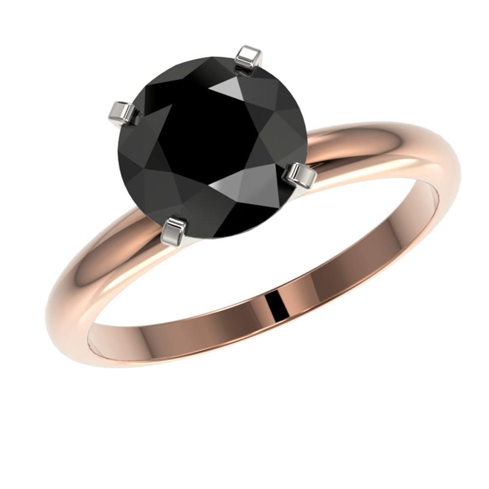Lot 6239: 2.50 ctw Fancy Black Diamond Solitaire Ring 10K Rose Gold - REF-70Y5X - SKU:32946