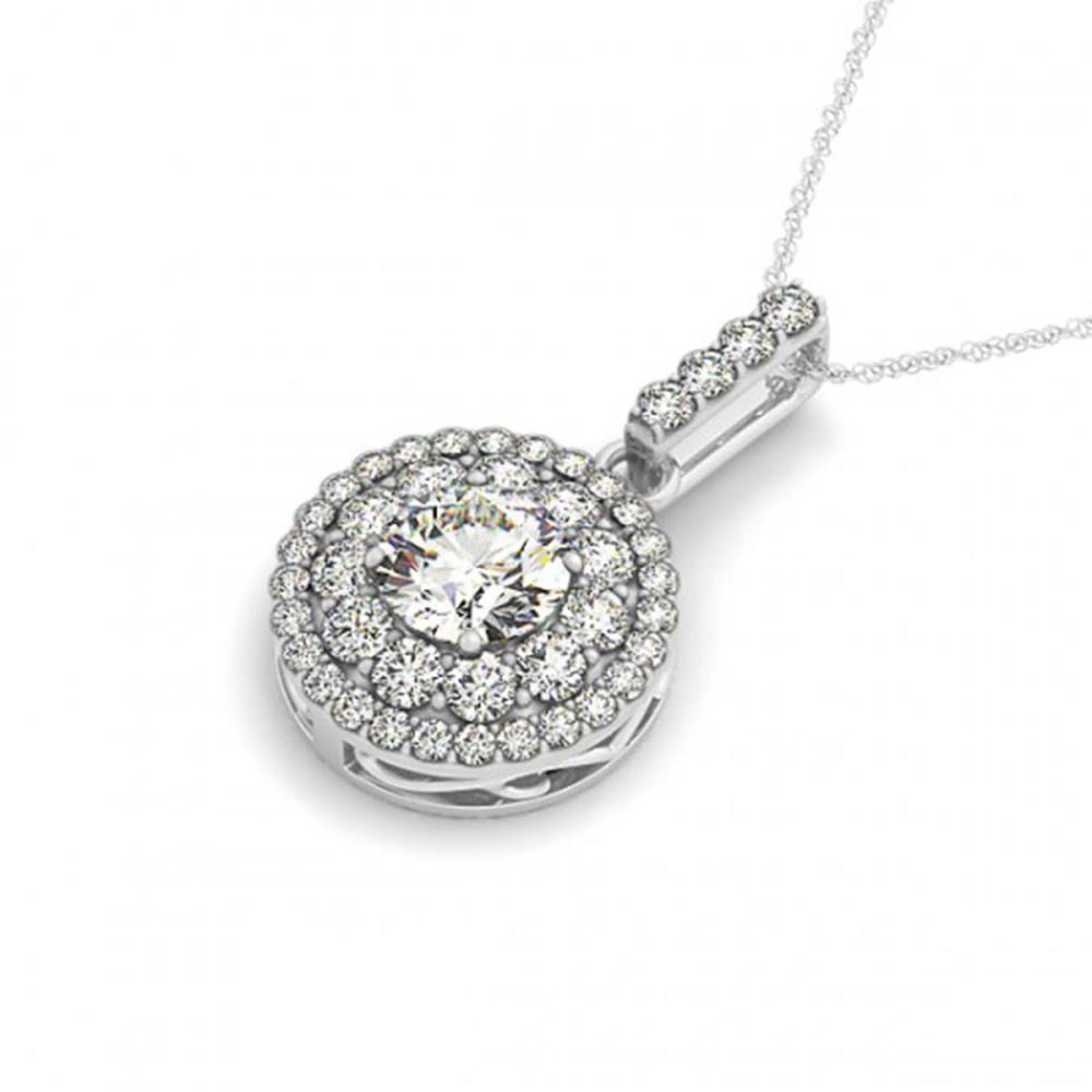 Lot 6353: 2.1 ctw VS/SI Diamond Solitaire Halo Necklace 14K White Gold - REF-394W9H - SKU:29919