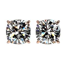 Lot 6355: 2 ctw VS/SI Cushion Diamond Stud Earrings 10K Rose Gold - REF-585M2F - SKU:33098