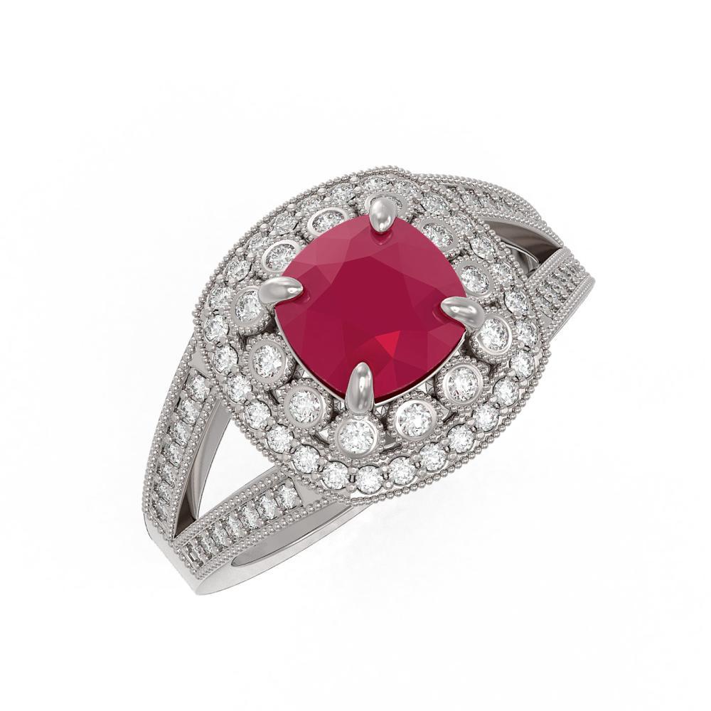 Lot 6352: 2.69 ctw Ruby & Diamond Ring 14K White Gold - REF-103K3W - SKU:44027
