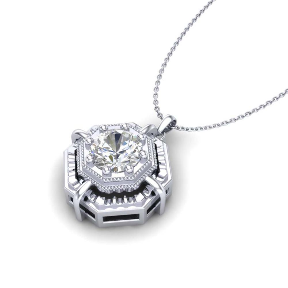 Lot 6374: 0.75 ctw VS/SI Diamond Solitaire Art Deco Stud Necklace 18K White Gold - REF-202K5W - SKU:36878