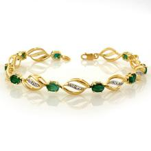 Lot 6366: 5.10 ctw Emerald & Diamond Bracelet 10K Yellow Gold - REF-70V9Y - SKU:10331