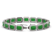 Lot 6267: 25.36 ctw Jade & Diamond Halo Bracelet 10K White Gold - REF-301H3M - SKU:46066