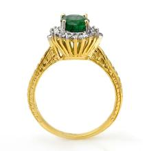 Lot 6270: 2.75 ctw Emerald & Diamond Ring 18K Yellow Gold - REF-69K3W - SKU:12412