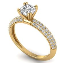 Lot 6280: 1.40 ctw VS/SI Diamond Art Deco Ring 14K Yellow Gold - REF-206M2F - SKU:30413