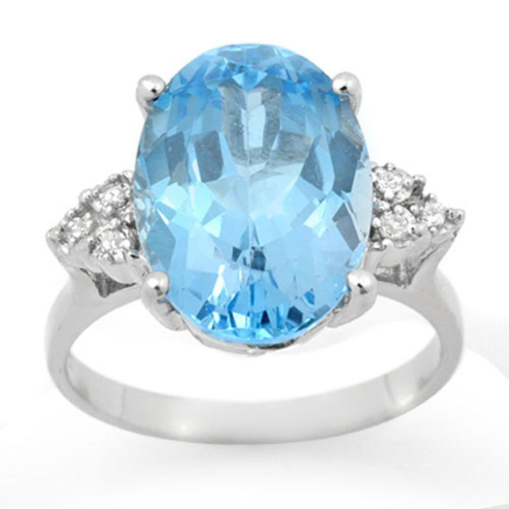 Lot 6395: 6.20 ctw Blue Topaz & Diamond Ring 18K White Gold - REF-52N7A - SKU:12857